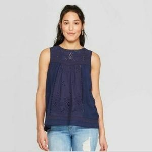 Women's Sleeveless Crewneck Eyelet Knit Back Tank